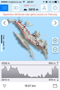 Die GPS-Route mit Höhenprofil