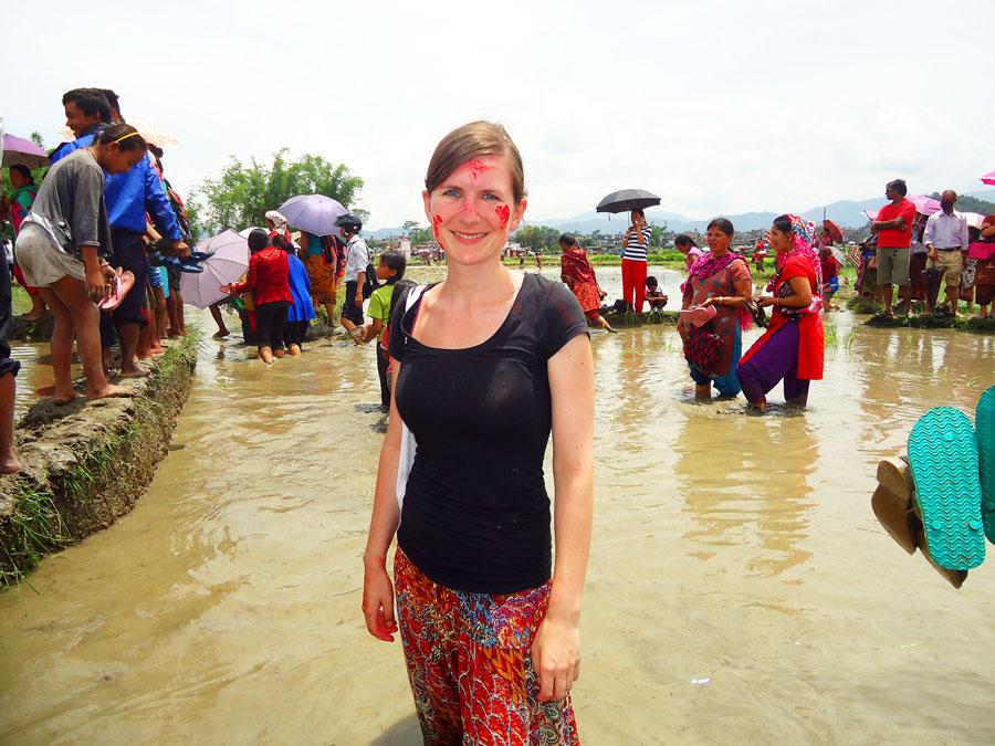 Das Reis-Fest in Nepal ist im August während der Regenzeit.
