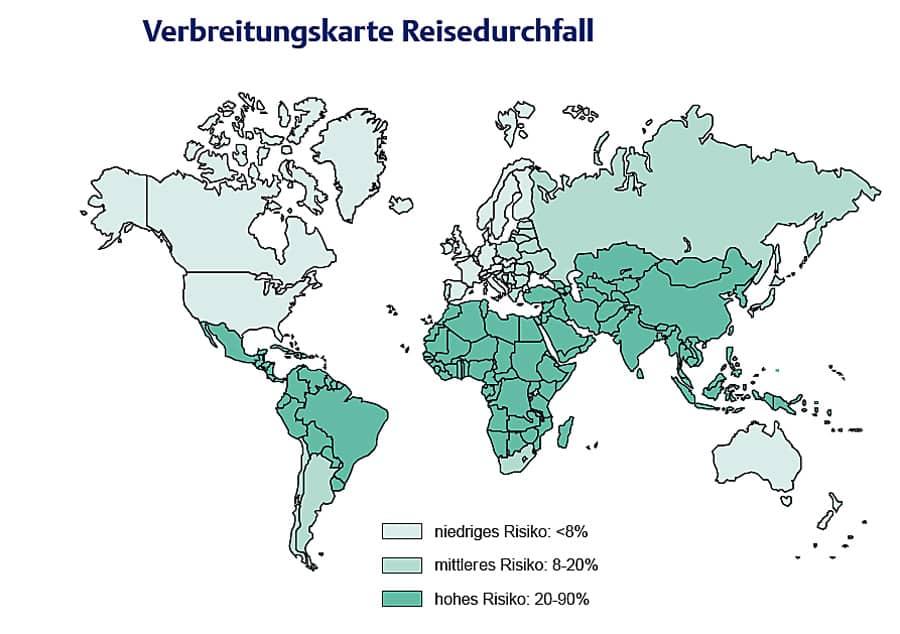 Verbreitungskarte Reisedurchfall