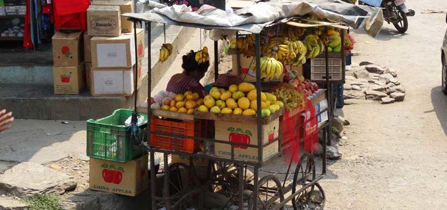 Tüchtige Obstverkäufer in Kathmandu