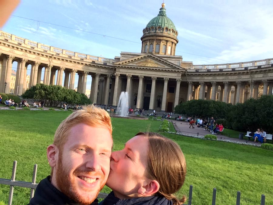 Sankt Petersburg Sehenswürdigkeiten: Vor der Kasaner Kathedrale