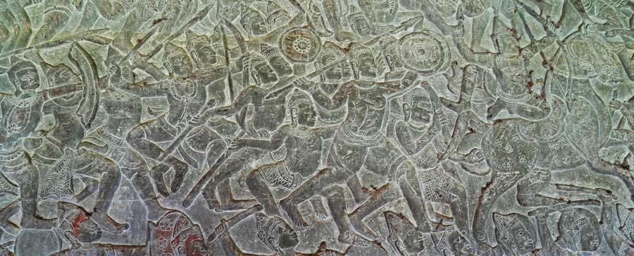 Angkor Wat Reiseführer: Tausend Jahre alte Felsmuster bei Angkor