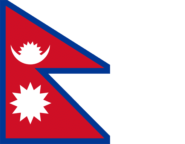 Flagge Nepal - Bergsteiger und Trekker im Himalaya Mount Everest