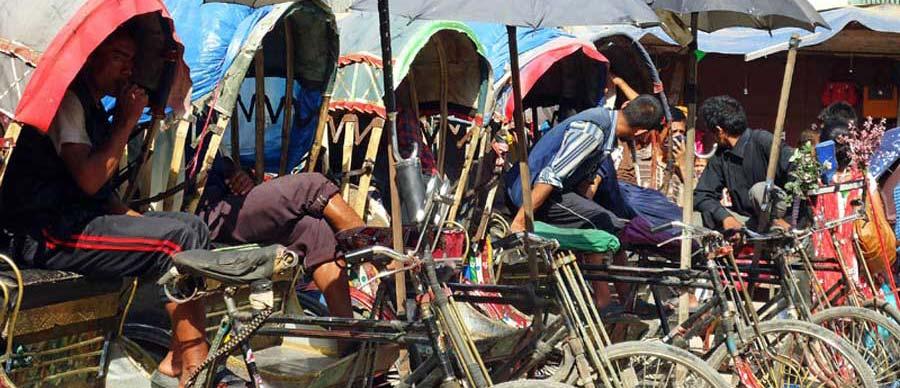Rikscha Fahrer in Kathmandu Nepal