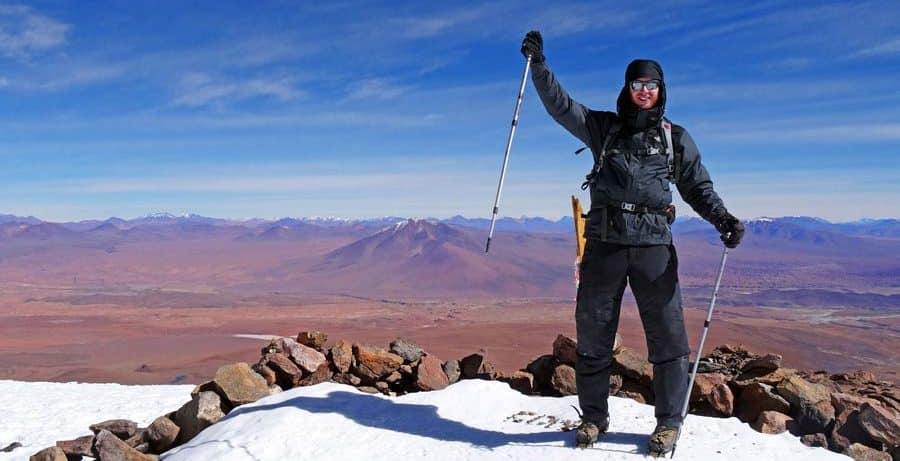 Sebastian auf dem Vulkan Uturuncu auf 6024 Meter - Evo Morales Departamentos