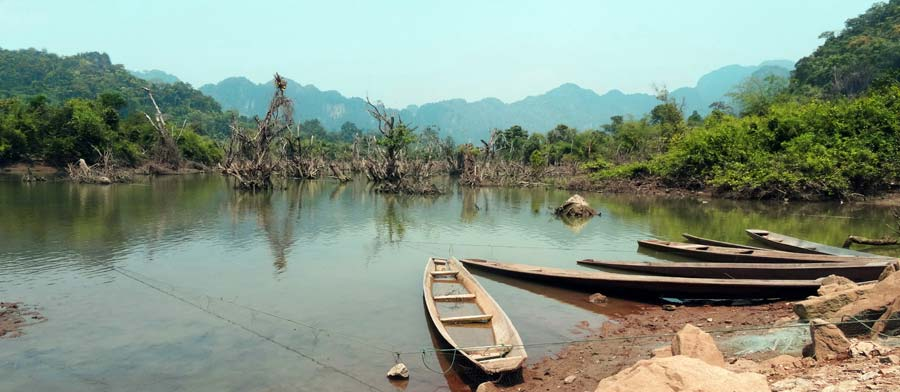 The Loop Laos: Fischerboote bei Nakai