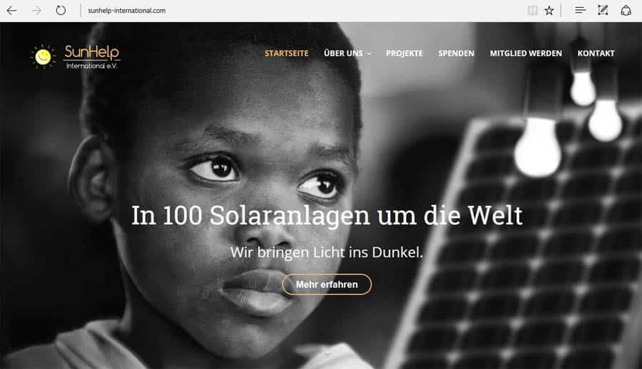 SunHelp neue Webseite