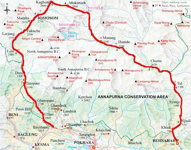 Annapurna Circuit: Karte Trekking Map