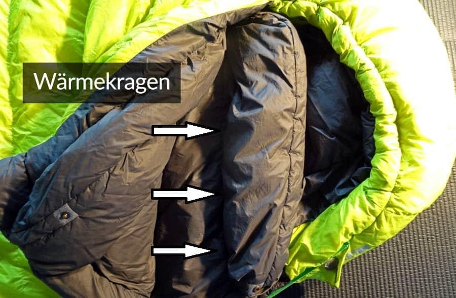 Schlafsack Test: Daunenschlafsack-Waermekragen