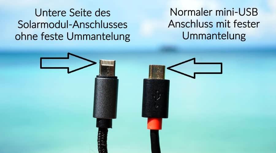Solar-Ladegerät Test: Lightning und mini-USB Anschluss