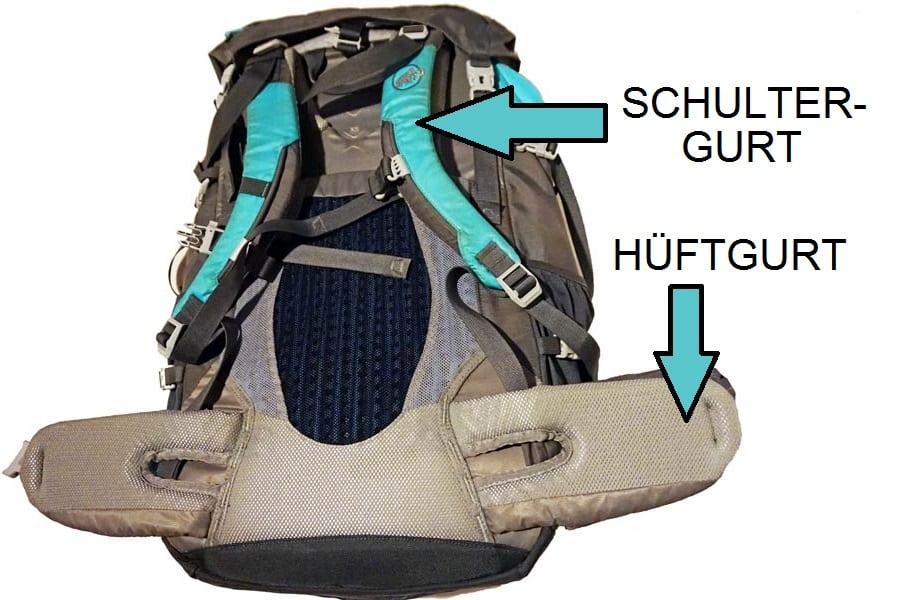 Wanderrucksack Test: Trekkingrucksack mit Hueftgurt und Schultergurt