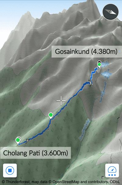 Gosainkund Trekking Map: Cholang Pati - Gosainkunda, Langtang Lirung & Helambu