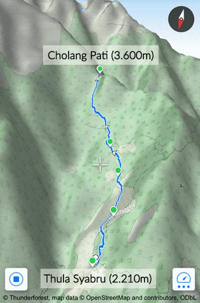 Gosainkund Map: Tulo Syabru - Cholang Pati