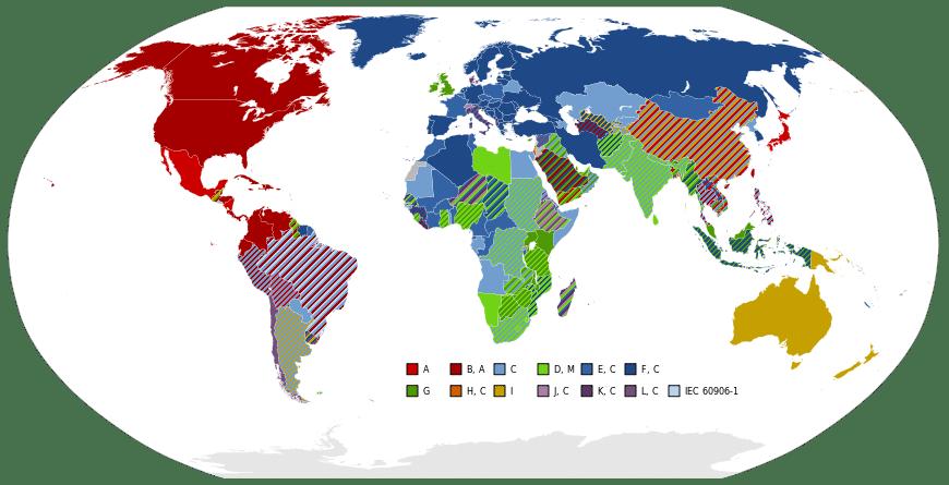 Reisestecker: Steckertypen Infografik - Reisestecker Schutzkontakt