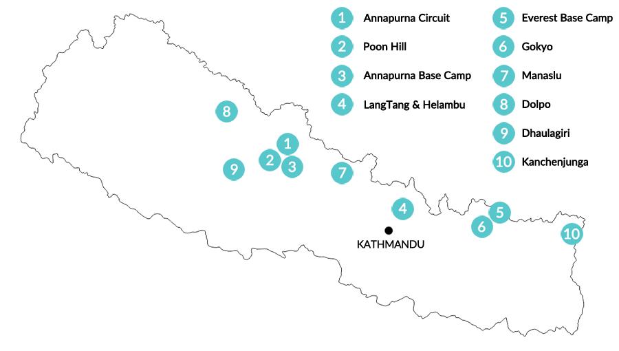 Nepal Trekking: Infografik Karte