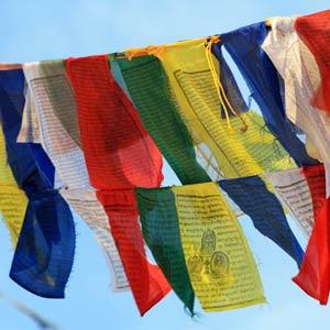 Kathmandu: Gebetsflaggen in Thamel