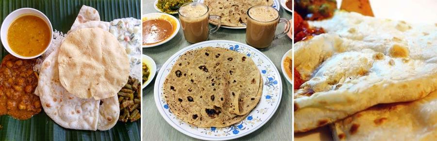 Indisches Essen: Fladenbrot Chapati, Roti und Naan