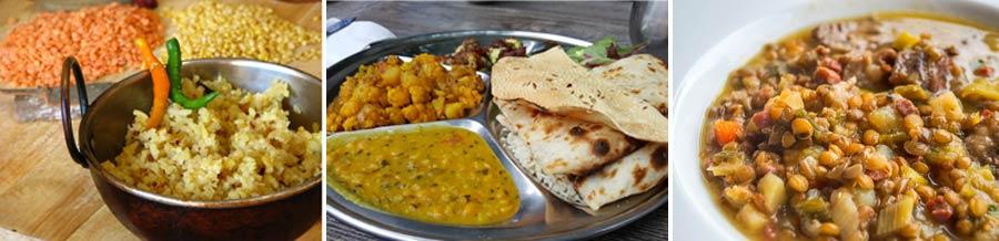 Indisches Essen: Tandoori Chicken, Biryani Reis und Linsencurry