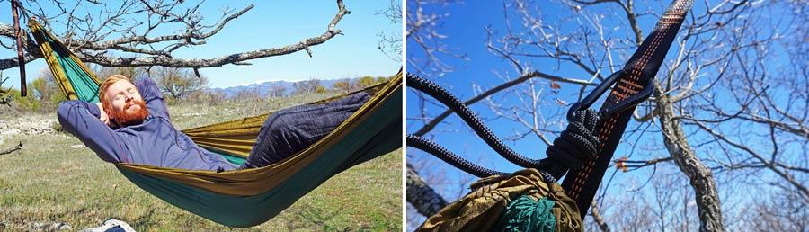 Outdoor Haengematte: Vergleich Reisehängematte - in der Natur schlafen