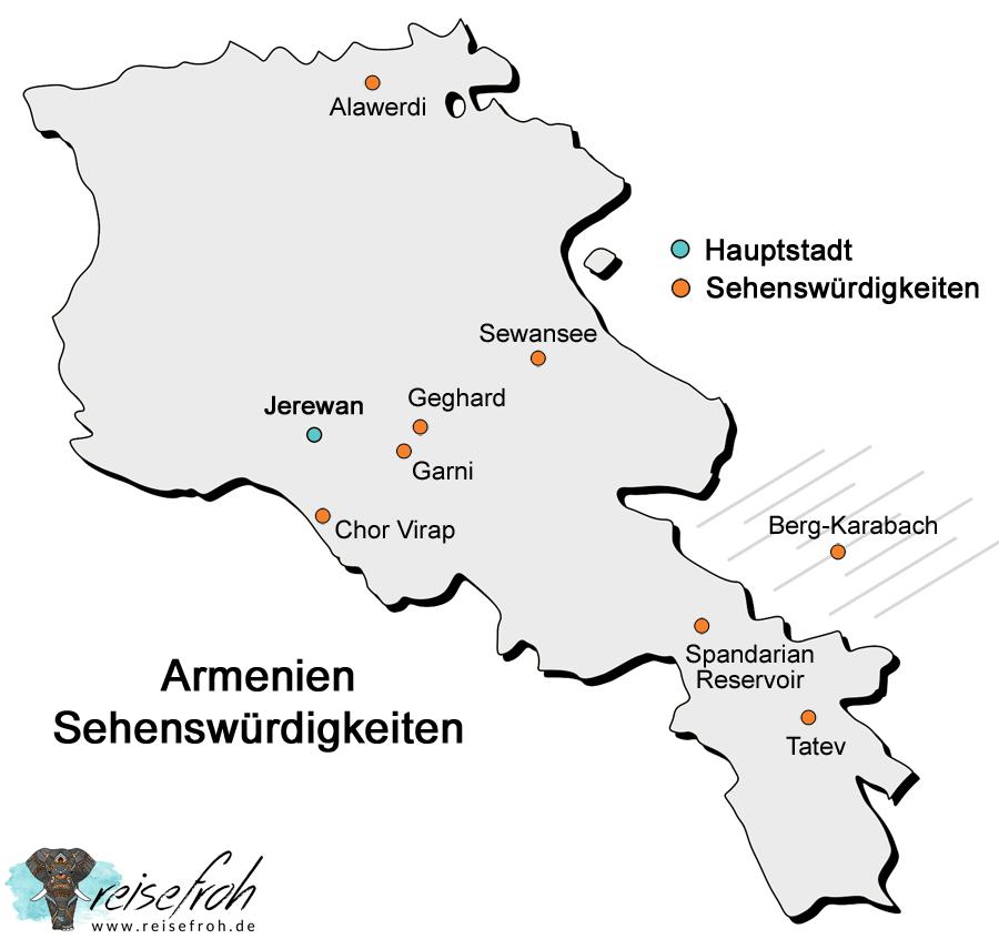 Armenien Sehenswürdigkeiten: Infografik und Karte