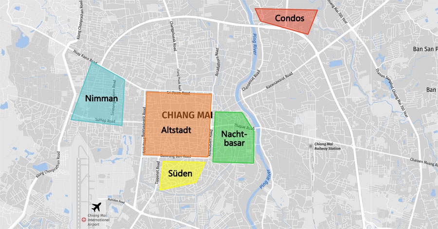Chiang Mai Hotels: Stadtplan Infografik mit Stadtvierteln