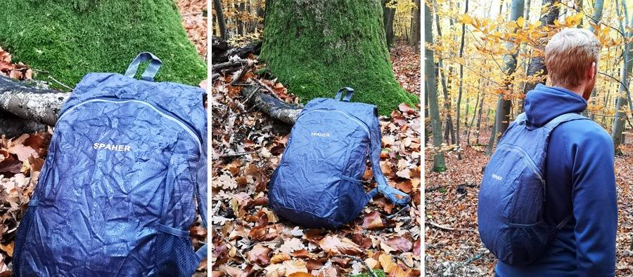 Faltbarer Rucksack: Hauptfach, Innentasche, Außentasche