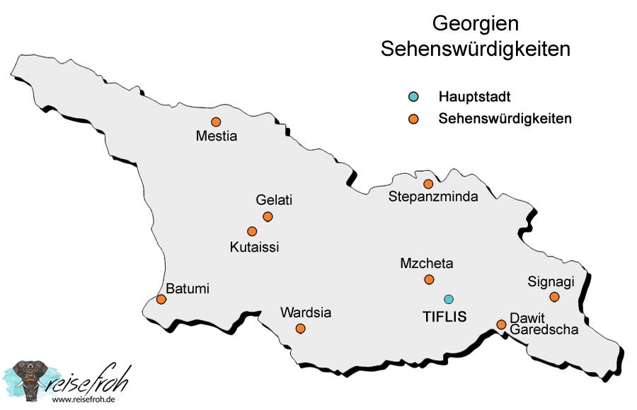 Georgien Sehenswürdigkeiten: Infografik und Karte