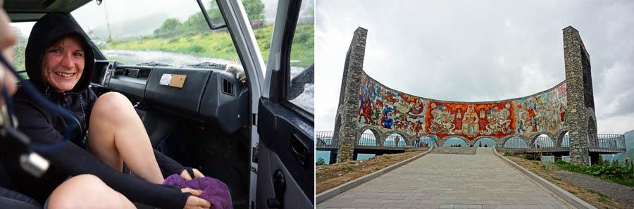 Kazbegi: Denkmal russisch georgische Freundschaft