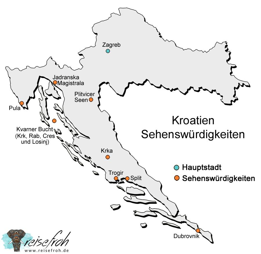 Kroatien Sehenswürdigkeiten: Infografik und Karte