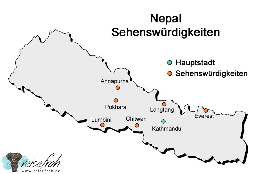 Nepal Sehenswürdigkeiten: Infografik und Karte