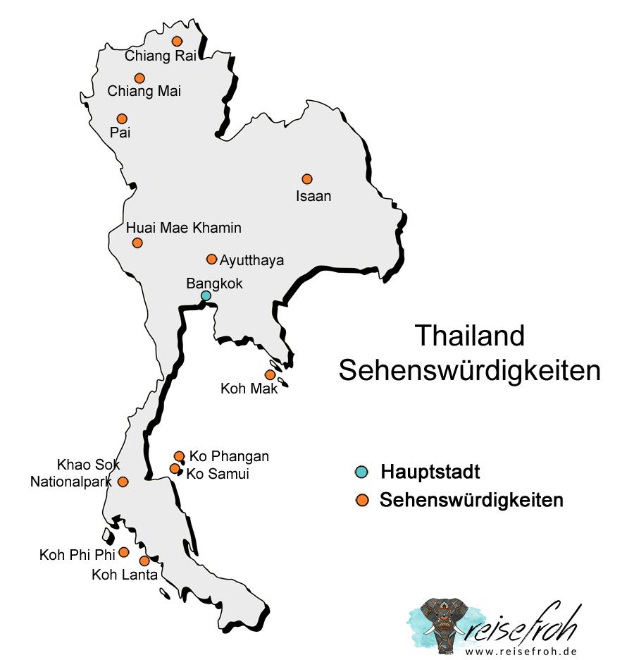 Thailand Sehenswürdigkeiten: Infografik und Karte
