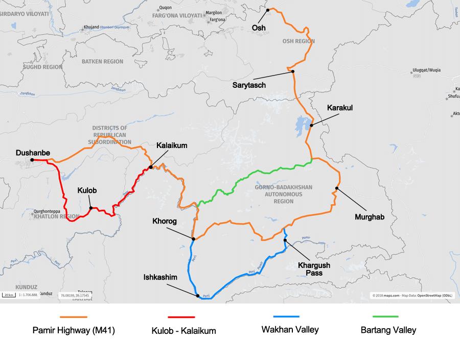 Pamir Highway Karte Infografik