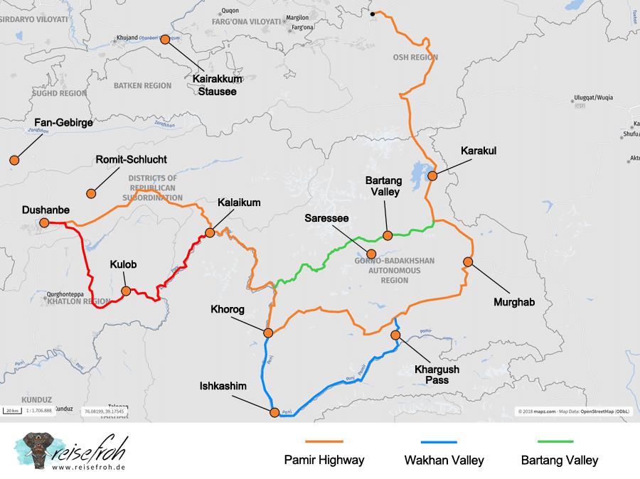Tadschikistan Sehenswürdigkeiten: Karte, Infografik