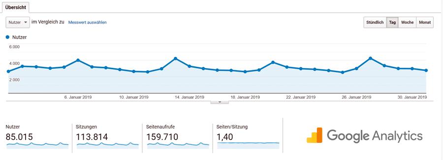 reisefroh Nutzer +85000 Google Analytics