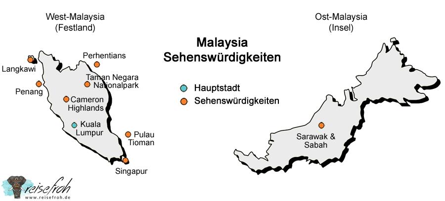 Malaysia Sehenswürdigkeiten: Infografik, Karte