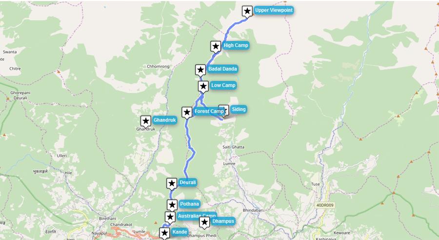 Mardi Himal Route, Karte