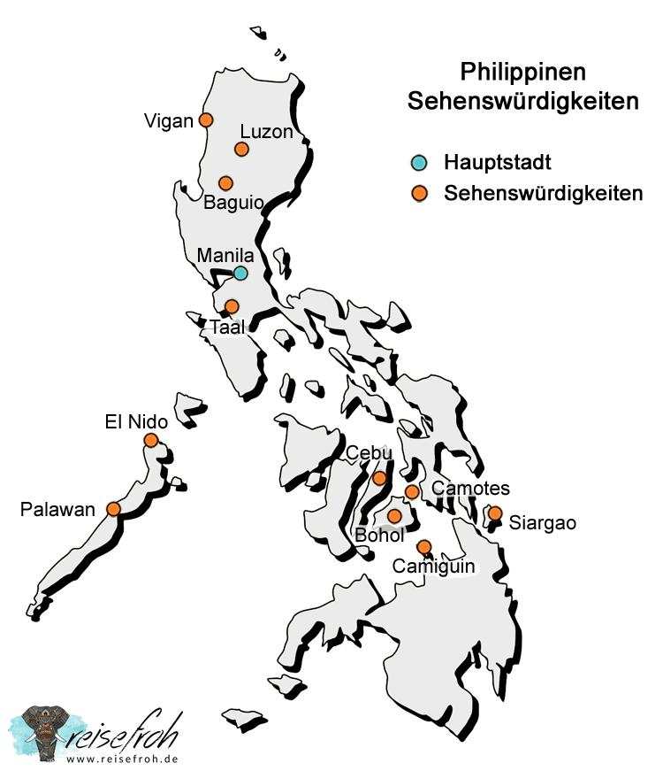 Philippinen Sehenswürdigkeiten: Infografik, Karte