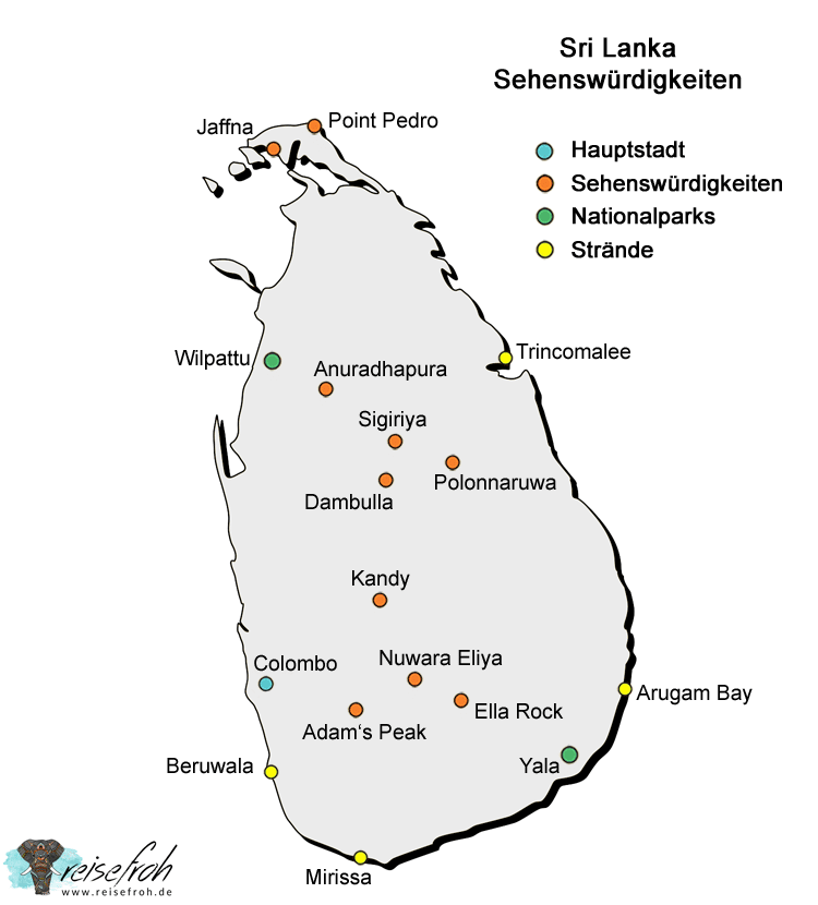Sri Lanka Sehenswürdigkeiten: Infografik, Karte