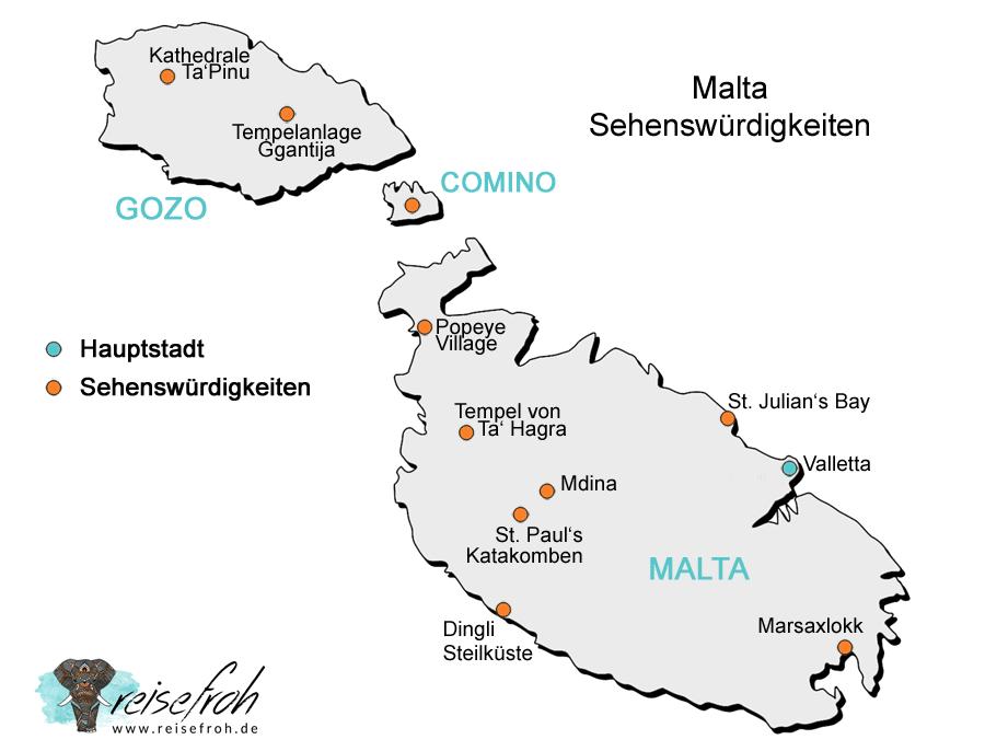 Malta Sehenswürdigkeiten: Karte, Infografik