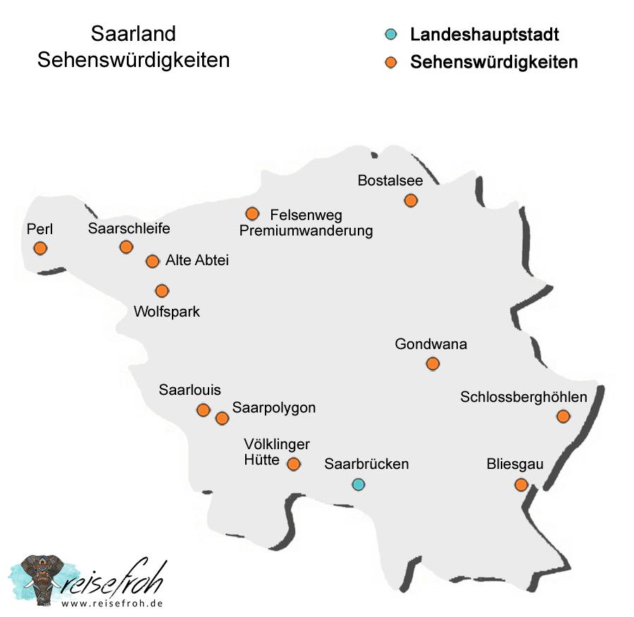 Saarland Infografik, Karte Sehenswürdigkeiten
