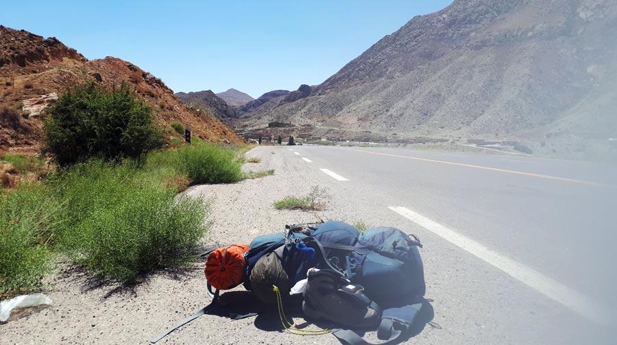 Trampen: Rucksack, Gepäck