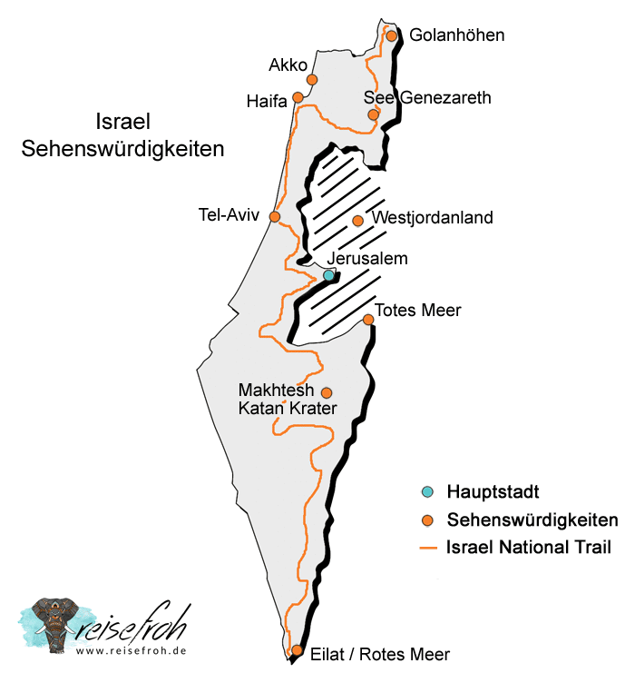 Israel Sehenswürdigkeiten: Infografik, Landkarte