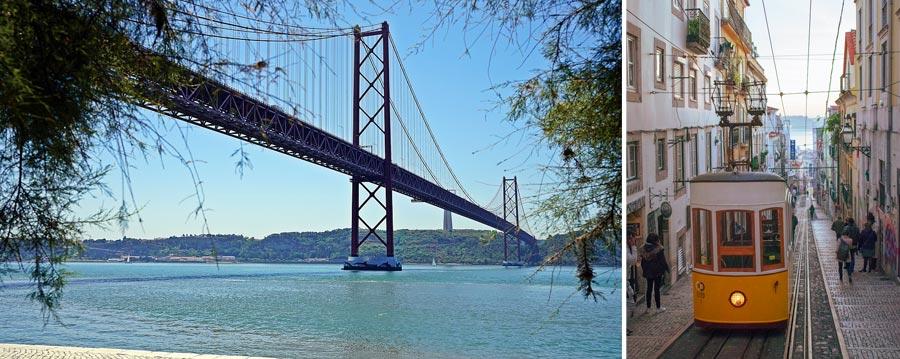 Lissabon Sehenswürdigkeiten: Brücke Ponte 25 de Abril, Tram 28