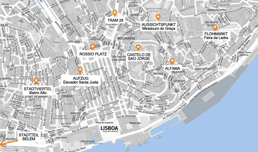 Lissabon Infografik, Stadtkarte