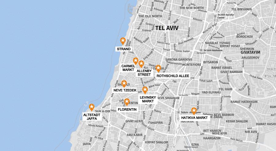 Tel Aviv Infografik, Stadtkarte