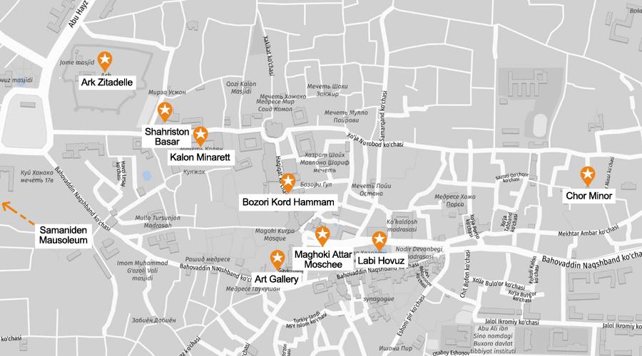 Infografik Buchara: Sehenswürdigkeiten Karte
