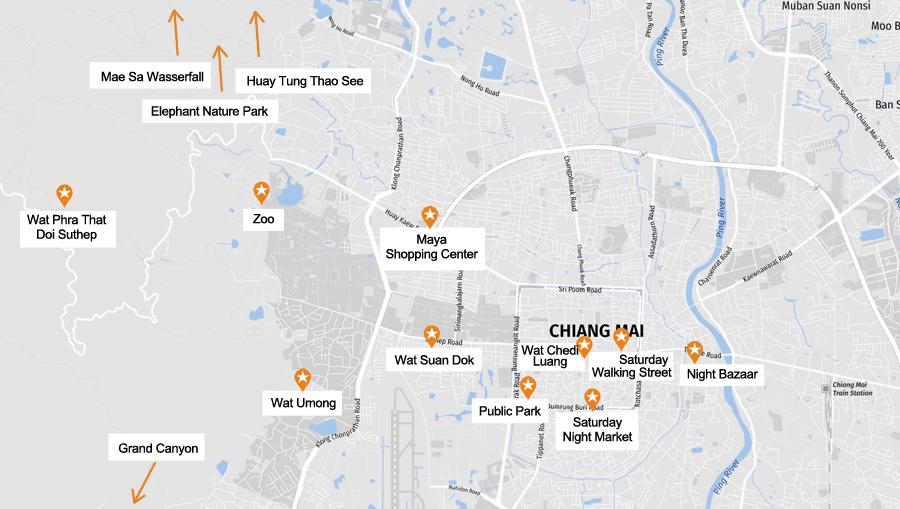 Infografik Chiang Mai: Sehenswürdigkeiten Karte