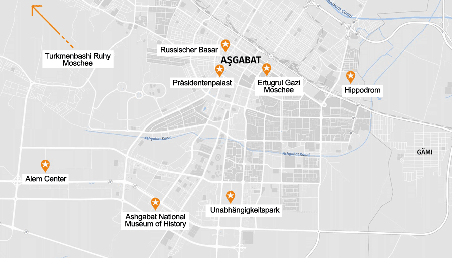 Infografik Ashgabat: Sehenswürdigkeiten Karte