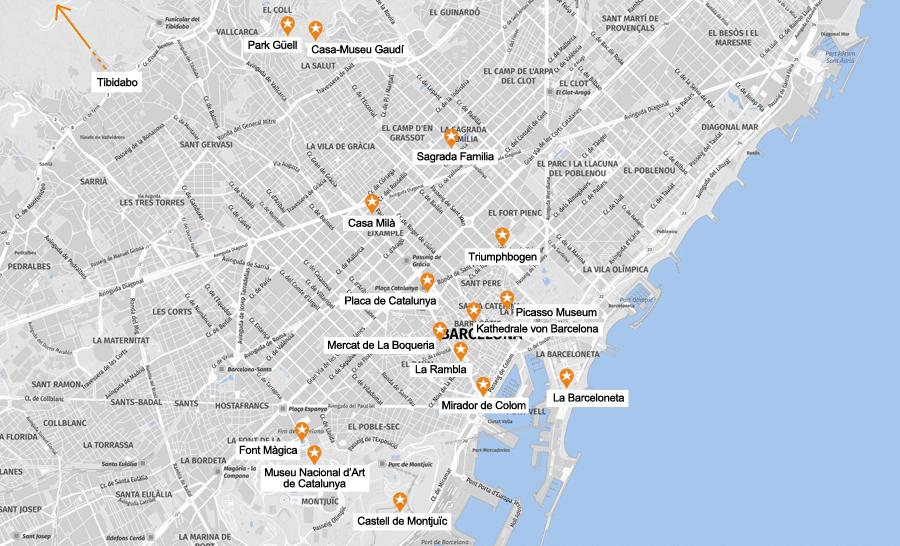 Infografik Barcelona: Sehenswürdigkeiten Karte