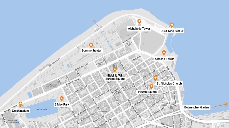 Infografik Batumi: Sehenswürdigkeiten Karte